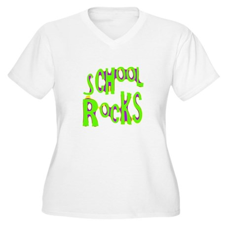 School Rocks - Lime Women's Plus Size V-Neck T-Shi