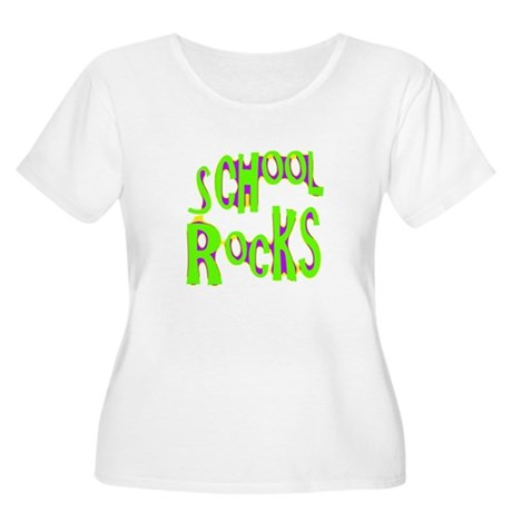School Rocks - Lime Women's Plus Size Scoop Neck T