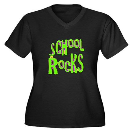 School Rocks - Lime Women's Plus Size V-Neck Dark