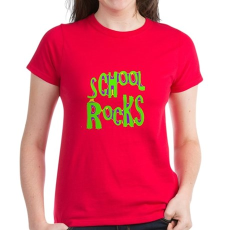 School Rocks - Lime Women's Dark T-Shirt
