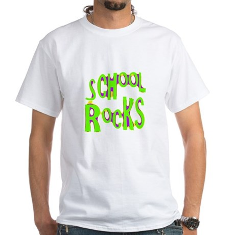 School Rocks - Lime White T-Shirt