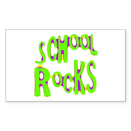 School Rocks - Lime Rectangle Sticker