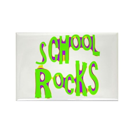 School Rocks - Lime Rectangle Magnet (10 pack)