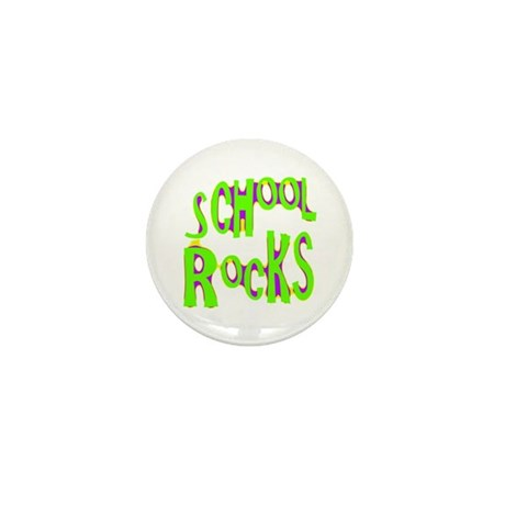 School Rocks - Lime Mini Button