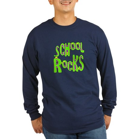 School Rocks - Lime Long Sleeve Dark T-Shirt
