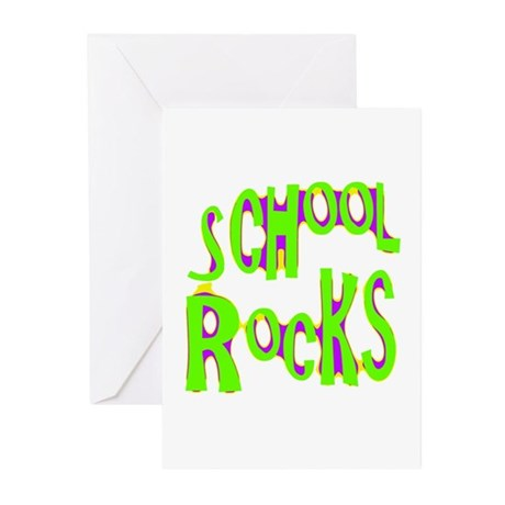 School Rocks - Lime Greeting Cards (Pk of 10)
