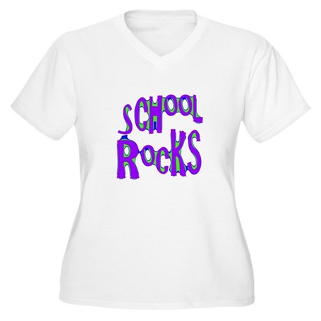 School Rocks - Purple - Women's Plus Size V-Neck