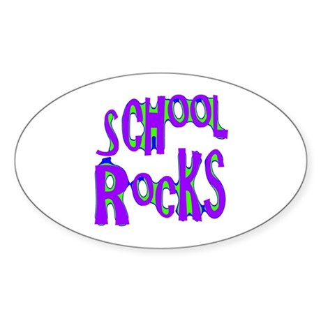 School Rocks - Purple - Oval Sticker