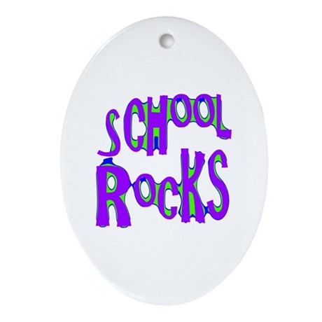 School Rocks - Purple - Oval Ornament