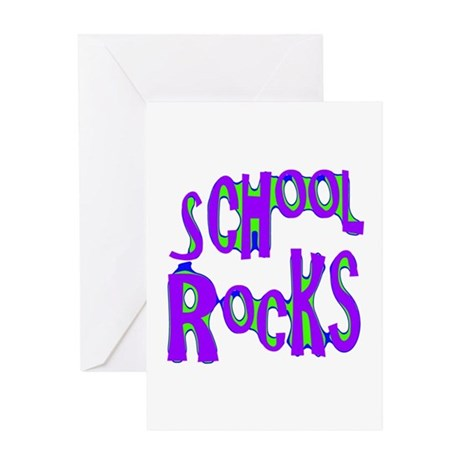 School Rocks - Purple - Greeting Card