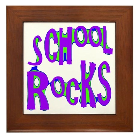 School Rocks - Purple - Framed Tile