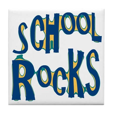 School Rocks - Dk Teal - Tile Coaster