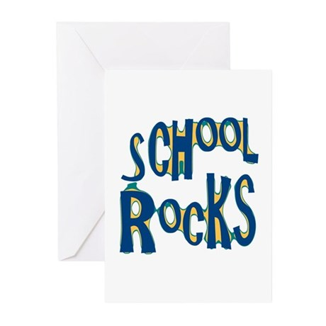 School Rocks - Dk Teal - Greeting Cards (Pk of 10