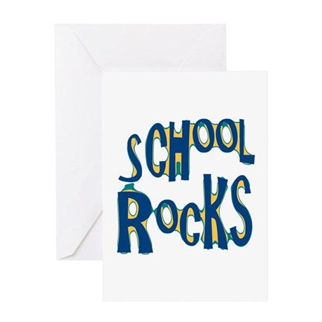 School Rocks - Dk Teal - Greeting Card