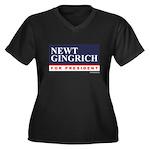 Newt Gingrich Women's Plus Size V-Neck Dark T-Shir