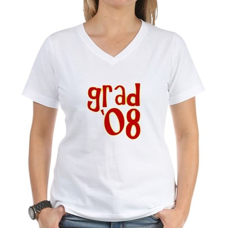 Grad 2008 - Red - Women's V-Neck T-Shirt