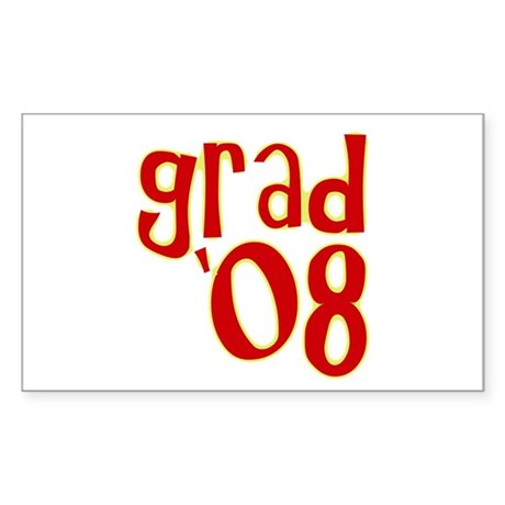 Grad 2008 - Red - Rectangle Sticker