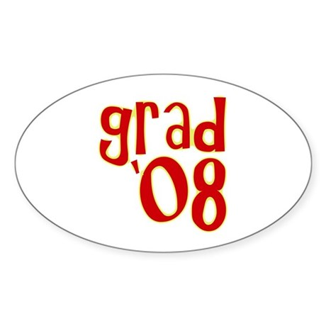 Grad 2008 - Red - Oval Sticker