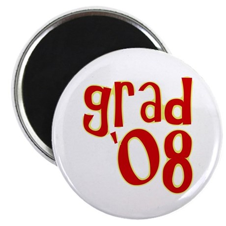 "Grad 2008 - Red - 2.25"" Magnet (100 pack)"