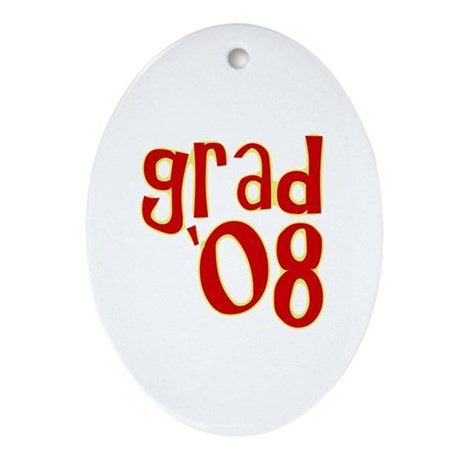 Grad 2008 - Red - Oval Ornament
