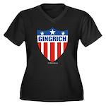 Gingrich Women's Plus Size V-Neck Dark T-Shirt