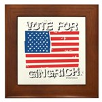 Vote for Gingrich Framed Tile