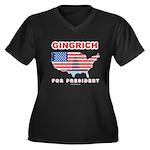 Gingrich for President Women's Plus Size V-Neck Da