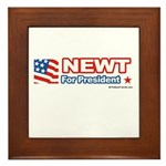 Newt for President Framed Tile