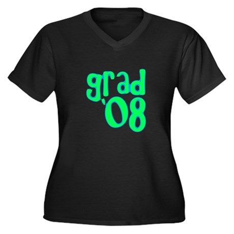 Grad 08 - Lime - Women's Plus Size V-Neck Dark T-