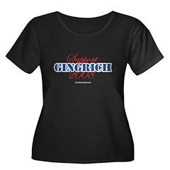 Support Gingrich Women's Plus Size Scoop Neck Dark