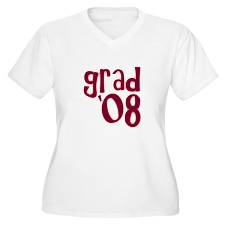 Grad 08 - Brick Red - Women's Plus Size V-Neck T-