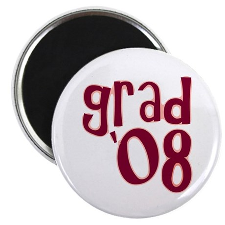 "Grad 08 - Brick Red - 2.25"" Magnet (10 pack)"