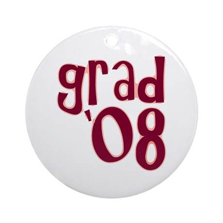 Grad 08 - Brick Red - Ornament (Round)