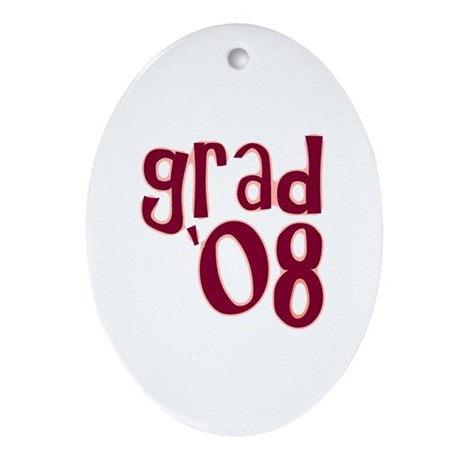 Grad 08 - Brick Red - Oval Ornament