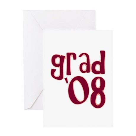 Grad 08 - Brick Red - Greeting Card