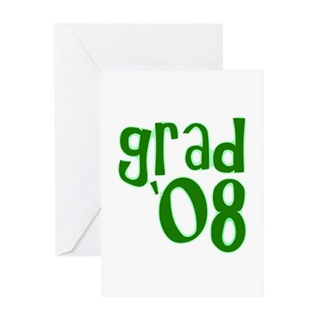 Grad 08 - Green - Greeting Card