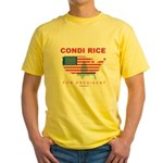 Condi Rice for President Yellow T-Shirt