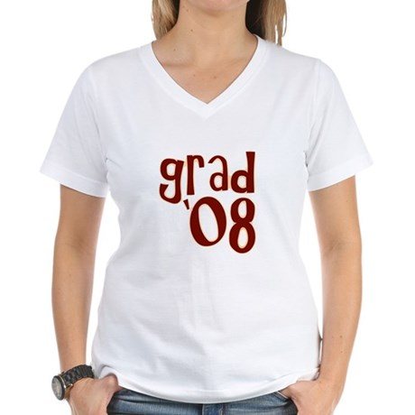 Grad 08 - Brown - Women's V-Neck T-Shirt