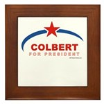 Colbert for President Framed Tile