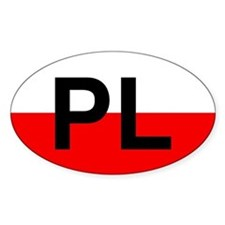 PL decal - Poland - flag colors - Oval Decal