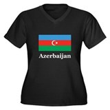 Azerbaijan Women's Plus Size V-Neck Dark T-Shirt