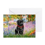 Garden / Black Pug Greeting Cards (Pk of 20)