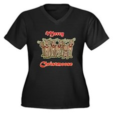 Merry Christmoose Women's Plus Size V-Neck Dark T-