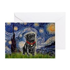 Starry Night / Black Pug Greeting Card