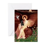 Winged Figure / Black Pug Greeting Cards (Pk of 20