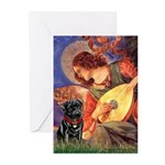 Mandolin Angel / Black Pug Greeting Cards (Pk of 2