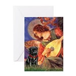 Mandolin Angel / Black Pug Greeting Card