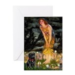 Fairies & Black Pug Greeting Card