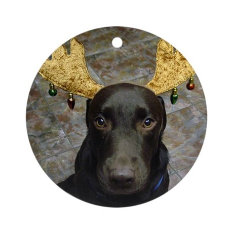 Chocolate Lab Chip Ornament (Round)