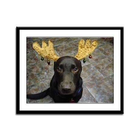 Chocolate Lab Chip Framed Panel Print
